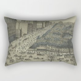 Vintage Pictorial Map of Central Park, 5th Avenue & 59th Street (1886) Rectangular Pillow
