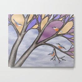 red breasted nuthatches in the stained glass tree Metal Print