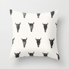 Stamped Skull Throw Pillow