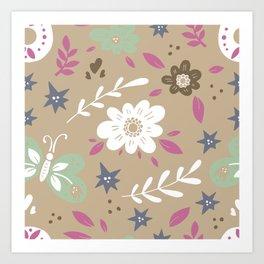 Flowers and butterflies In Brown Pattern Art Print