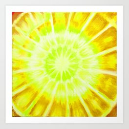 lime and yellow radial pattern Art Print