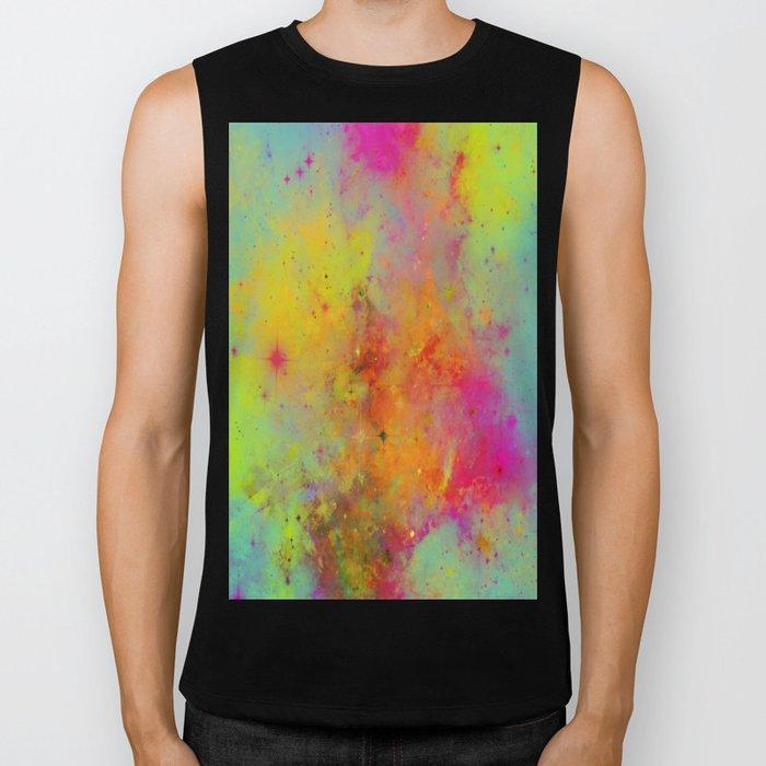 Rainbow Galaxy - Abstract, rainbow coloured space painting Biker Tank