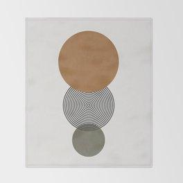 MINIMALIST CIRCULAR SHAPES - GREEN Throw Blanket