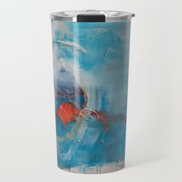 Disguised Blue Coral Abstract Contemporary Original Painting Travel Mug