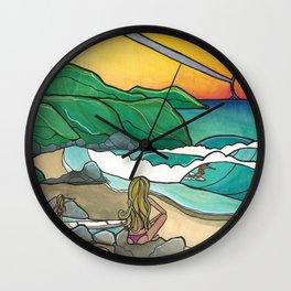Surf Family Beach Lovers Art by Lauren Tannehill Art Wall Clock