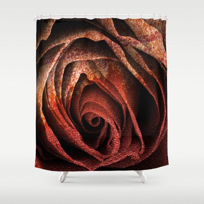 Bleeding Rust Rose Shower Curtain