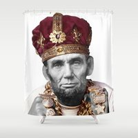 lincoln Shower Curtains featuring SLICK LINCOLN by MICKEY FICKEY GALLERY