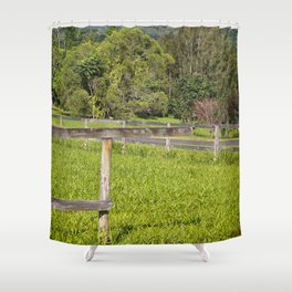 Broken fence in a rural area Shower Curtain