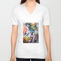 gravity V-neck T-shirts featuring Gravity by Lily Mandaliou