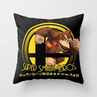 donkey kong Throw Pillows featuring Donkey Kong - Super Smash Bros. by Donkey Inferno