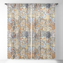 Big Cat Collage Sheer Curtain