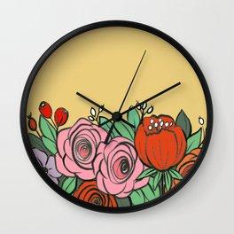 Flower garden digital illustration  Wall Clock