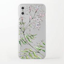 Jasmine Flower Illustration Clear iPhone Case