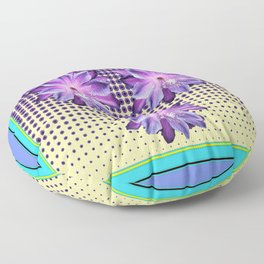 Exotic Lilac-Purple-BlueTropical Flowers yellow Optic Art Floor Pillow