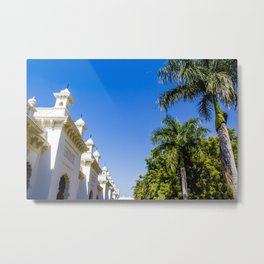 Blue Skies and Palm Trees Lining the Pathway at Chowmahalla Palace Metal Print