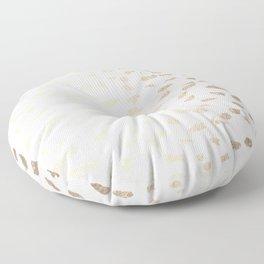 Gold Modern Polka Dots on White Floor Pillow