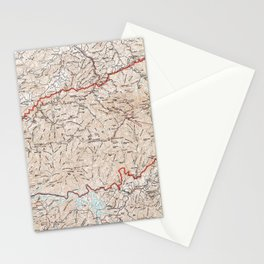 Vintage Smoky Mountains National Park Map (1972) Stationery Cards