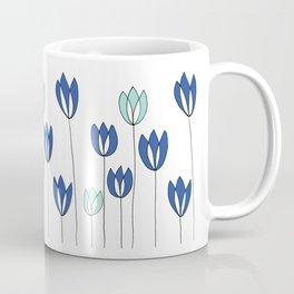 Drawing of Blue and Aqua Whimsical Tulips by Emma Freeman Designs Coffee Mug