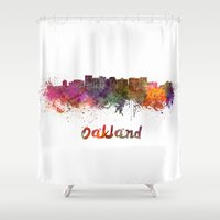 oakland Shower Curtains featuring Oakland skyline in watercolor by Paulrommer