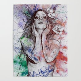 The Withering Spring: Wine (nude tattooed girl with flowers) Poster