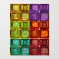 tv Canvas Prints featuring Coulored Televisions by PrinzPhotographie