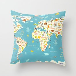 Animals world map. Beautiful cheerful colorful vector illustration for children and kids Throw Pillow