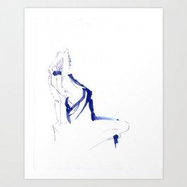 ...In a Blue Dress Art Print