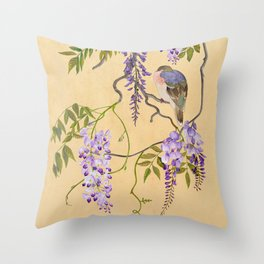Dove Sleeping in Wisteria Tree Throw Pillow