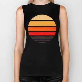 Orange Mid Century Modern Minimalist Circle Round Photo Staggered Sunset Geometric Stripe Design Biker Tank