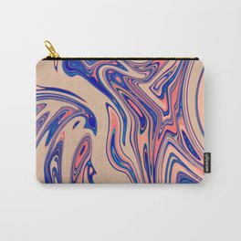 Blue Blush Stone Marble Design Carry-All Pouch