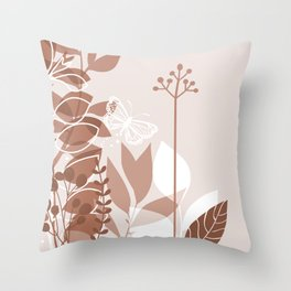 Botanicals and Butterfly Graphic Design 2 Sherwin Williams Cavern Clay SW7701 Throw Pillow