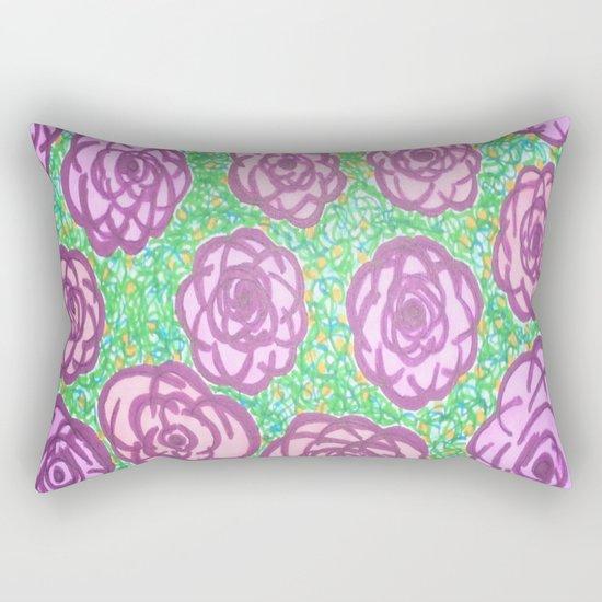 Preppy Rose Garden Rectangular Pillow