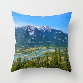 Overlooking the Athabasca River from the Morrow Peak Hike in Jasper National Park, Canada Throw Pillow
