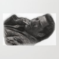 nicolas cage Area & Throw Rugs featuring WILD AT HEART - NICOLAS CAGE by William Wong