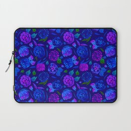 Watercolor Floral Garden in Electric Blue Bonnet Laptop Sleeve