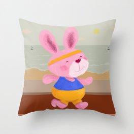 Bunny Runner Throw Pillow
