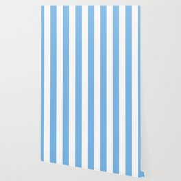 Aero turquoise - solid color - white vertical lines pattern Wallpaper