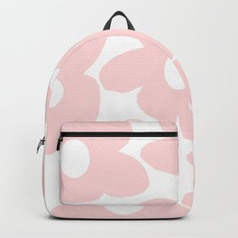 Large Baby Pink Retro Flowers on White Background #decor #society6 #buyart Backpack