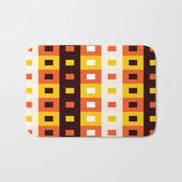 Geometric Pattern #74 (orange stripes squares) Bath Mat