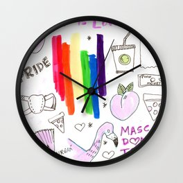 pride aesthetics lgbtqia rainbow Wall Clock