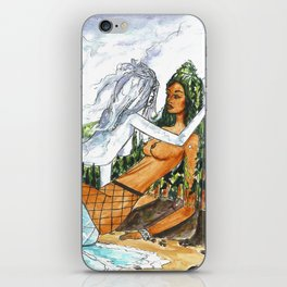 PNW Fishnets - Earth and Sky Goddess Kiss Painting iPhone Skin