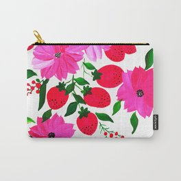 Pink flower with strawberry design Carry-All Pouch