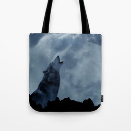 Wolf howling at full moon Tote Bag