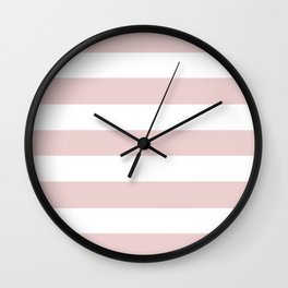 Lotion pink - solid color - white stripes pattern Wall Clock