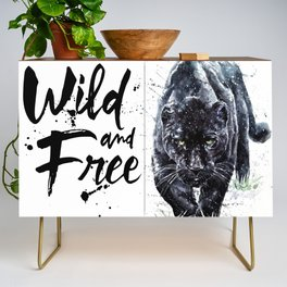 Panther watercolor painting predator animals puma jaguar wild & fre Credenza