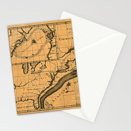 Map Of The Gulf Stream 1786 Stationery Cards