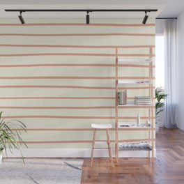 Earthen Trail Pink 4-26 Hand Drawn Horizontal Lines on Dover White 33-6 Wall Mural