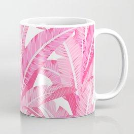 Pink banana leaves tropical pattern on white Coffee Mug