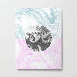 Toshi - spilled ink abstract painting watercolor marble painterly boho pantone rosequartz pastel Metal Print