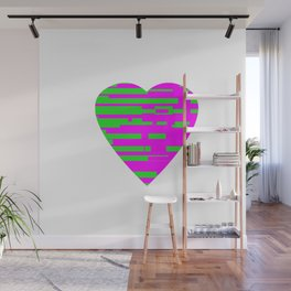Glitching Hearts — Pink and Green Wall Mural
